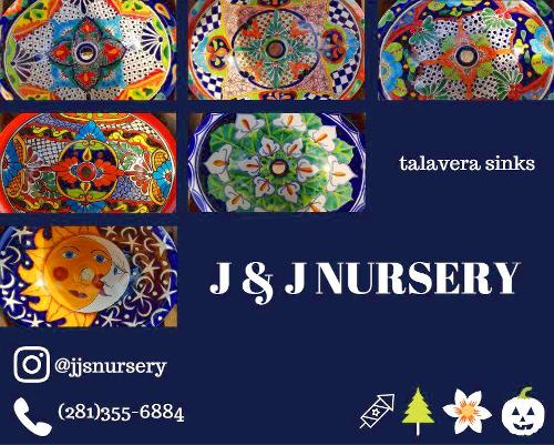 Talavera sinks at JJs Nursery, Spring, Tx.