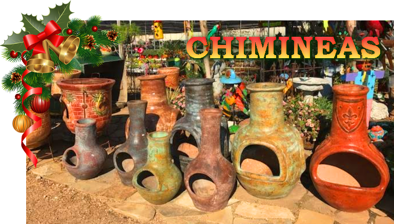 Chimineas for cool weather! Available at J&J Nursery and Madison Gardens Nursery!