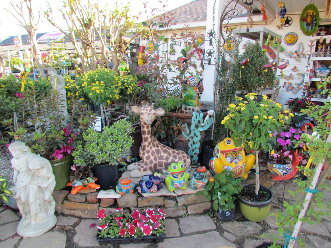 Metal iron decor, cement statuary, pottery and more!