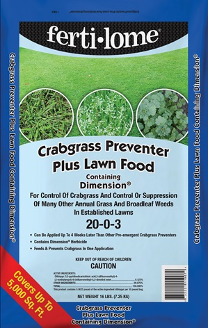 """Fertilize your lawn in September and October with """"Crabgrass Preventer Plus Lawn Food."""""""