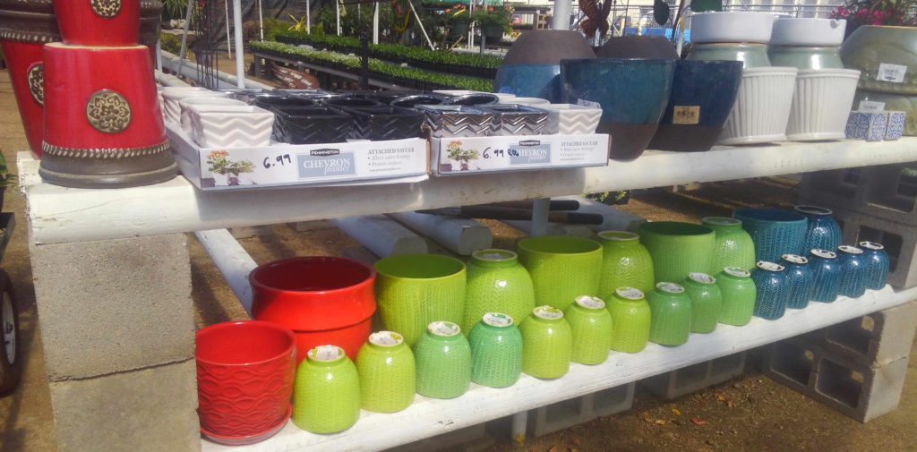 Many colors and sizes of pots!