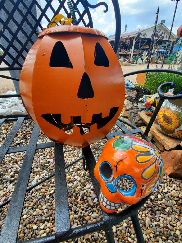 Scare up the neighbors with these decorative metal and talavera pumpkins!