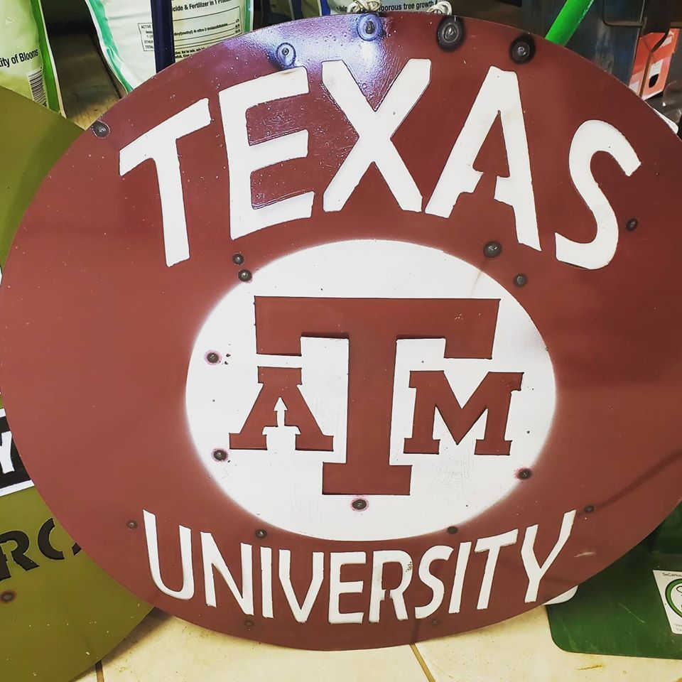 Texas A & M metal decoration. Hang on the fence or on a wall!