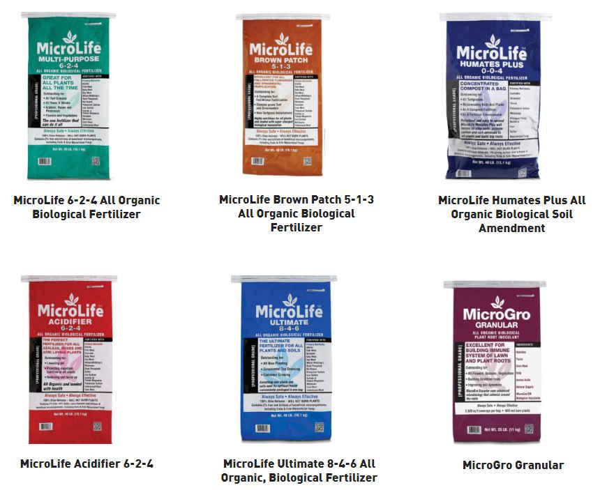 MicroLife 6-2-4 Multi-Purpose, MicroLife Brown Patch 5-1-3, MicroLife Humates, MicroLife Acidifier 6-2-4, MicroLife Ultimate 8-4-6, MicroLife MicroGro Granular