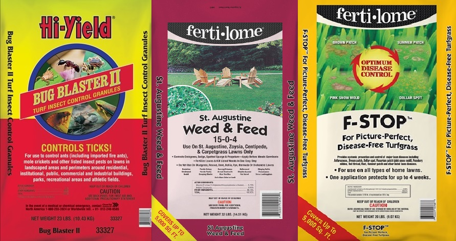 The best combination for your lawn in March and April! Ferti-lome St. Augustine Weed & Feed 15-0-4, Ferti-lome F-Stop, Hi-Yield Bug Blaster II.