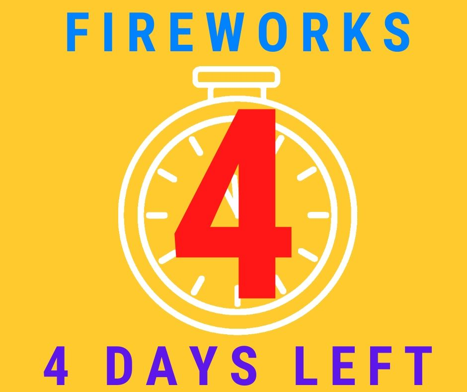 4 days left to get your fireworks at Madison Gardens Nursery! Fireworks stand open June 24 to July 4!