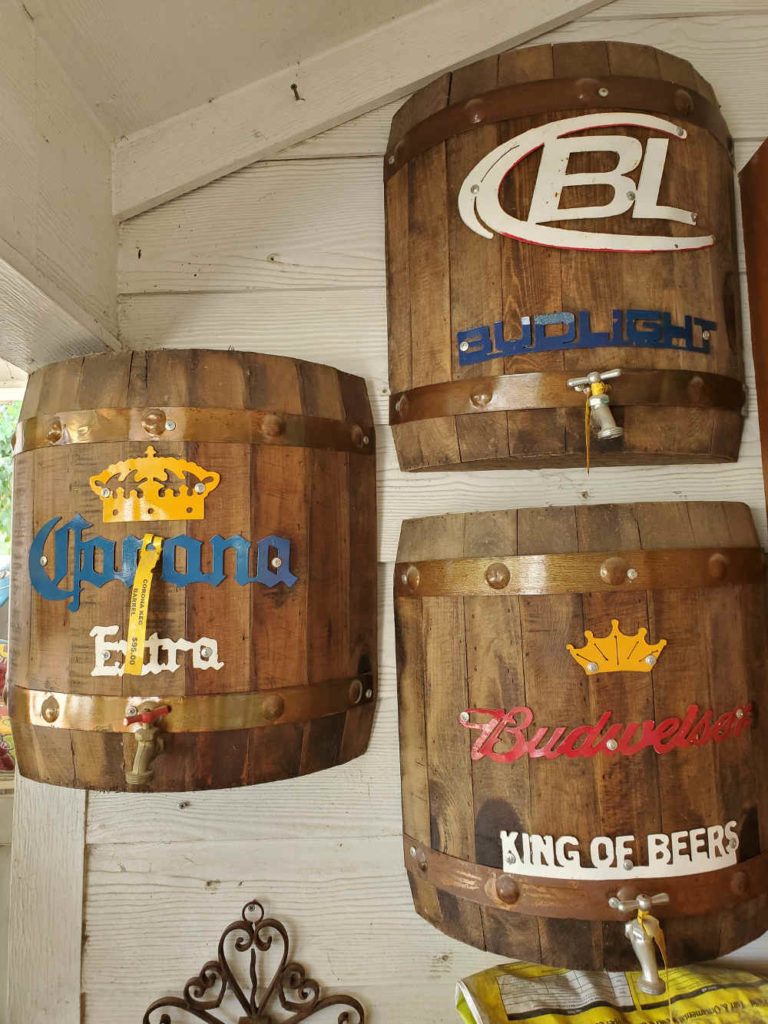 Imitation beer barrel wall hangings!
