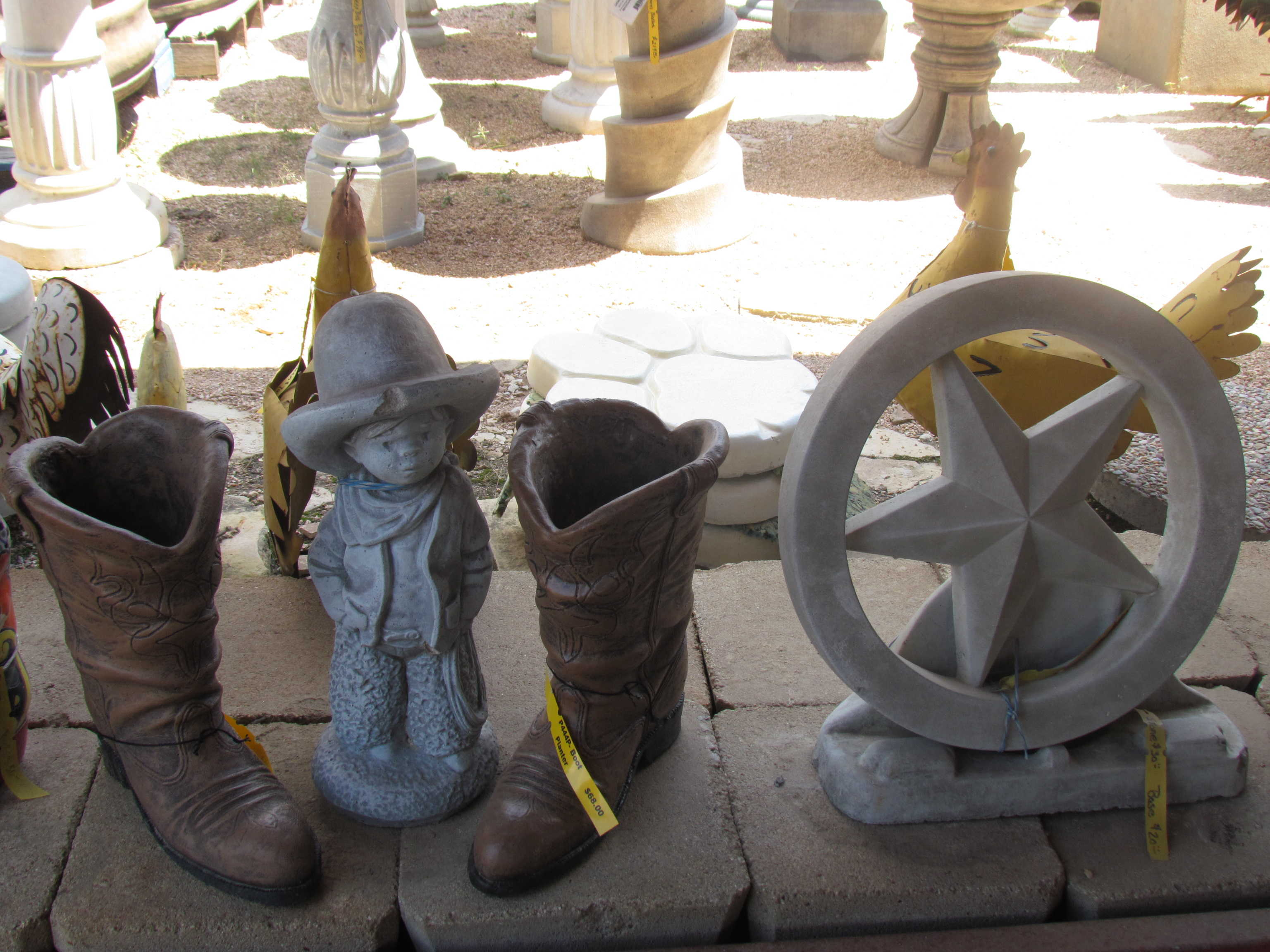 Cowboy cement at Madison Gardens Nursery, Spring, TX