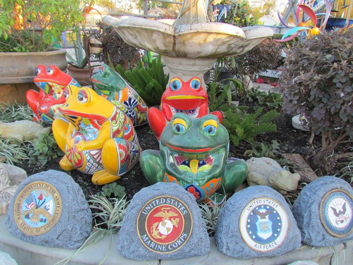 Cement military stones at Madison Gardens Nursery, Spring, TX